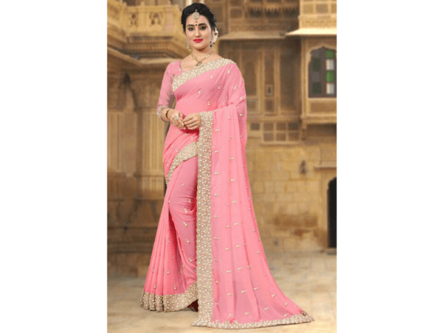 Pair Georgette Saree With Gold And Bead Jewellery