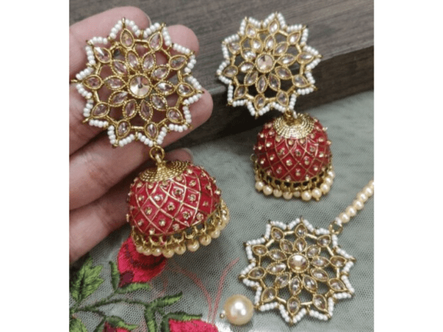 Colourful Polki Meena Earrings