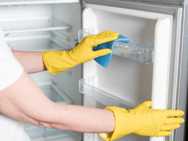 Begin Wiping With Soap Or Baking Soda